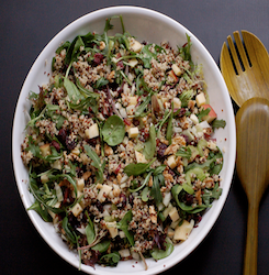 Shredded Kale and Arugula Salad With Pecans and Cranberries