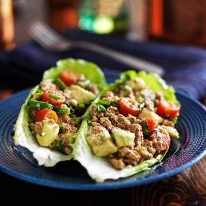 Low-Carb Avocado Beef Lettuce Wrap Tacos