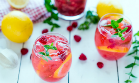 Raspberry Mint Lemonade Morning Detox Drink