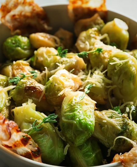 Savory Parmesan Bacon Brussels Sprouts