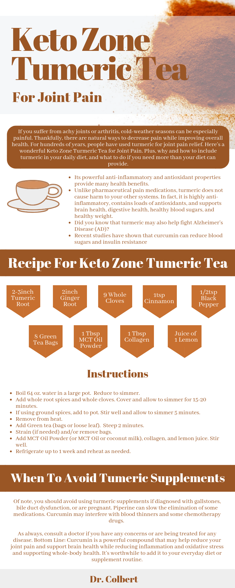 keto zone, turmeric for joint pain, turmeric benefits, joint pain, dr Colbert, mct oil powder, hydrolyzed collagen