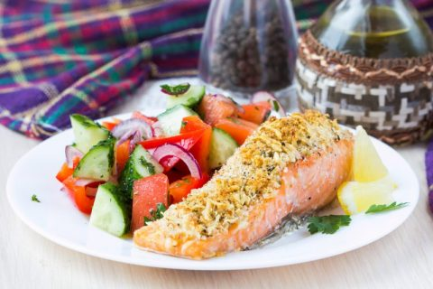 Keto Zone Almond Crusted Salmon with Side Salad
