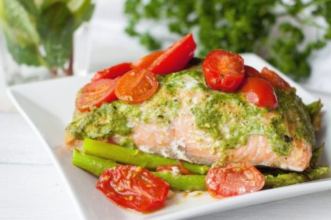 Incredibly Nutritious Keto Zone Pesto Salmon Over Asparagus